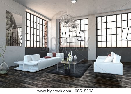 Spacious high volume modern living room interior with huge revolving cottage pane windows and a stylish white lounge suite on a wooden parquet floor