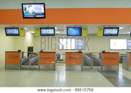 MOSCOW - APRIL 20: Sheremetyevo airport interior on April 20, 2014 in Moscow. Sheremetyevo International Airport is one of the three major airports that serve Moscow