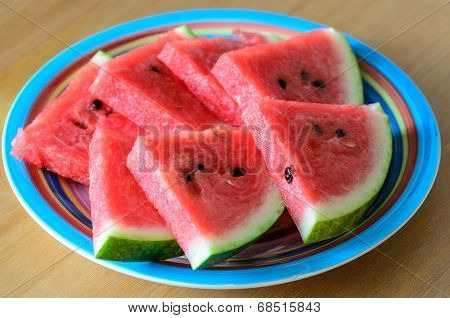 Sliced Watermelon On Plate