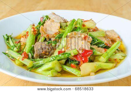 Stir Fried Kale With Crispy Pork