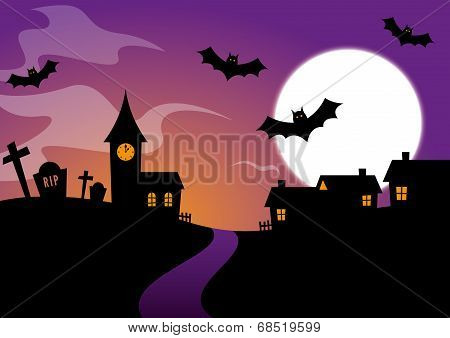 Halloween Design with bats and a graveyard