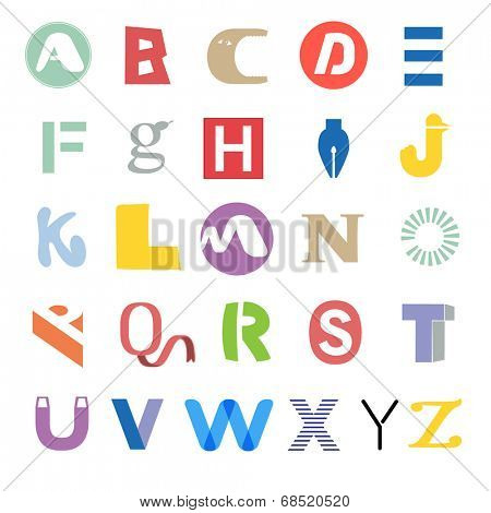Funky mixed alphabet - set of different letters - typography collection