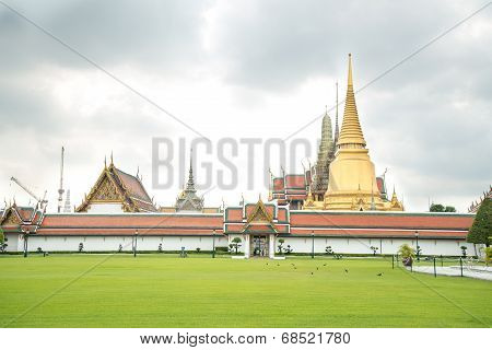 The Temple Wat Phra Kaeo In The Grand Palace Area, One Of The Major Tourism Attraction In Bangkok, T