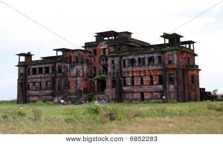 Abandoned Hotel. Bokor Hill Station Near The Town Of Kampot. Cambodia.