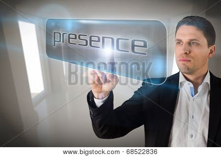 Businessman pointing to word presence against digitally generated room