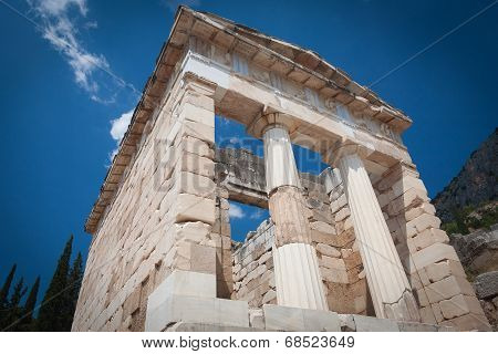 The Athenian Treasury in Delphi. Greece.