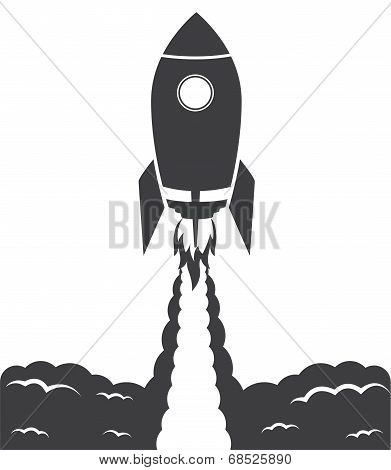 Startup Cosmic Rocket, Black And White Illustration
