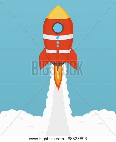 Startup Cosmic Rocket, Design In Flat Design