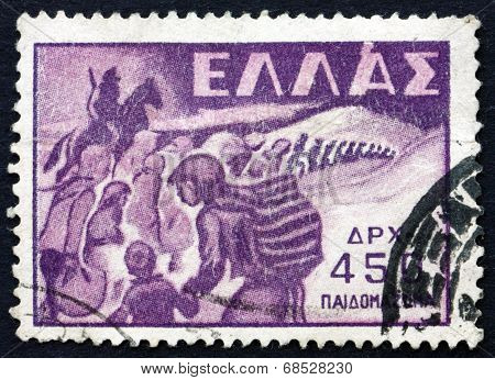Postage Stamp Greece 1949 Abduction Of Children