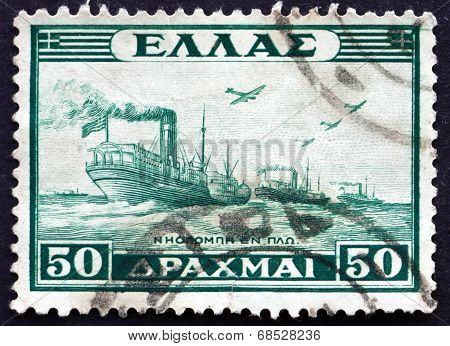 Postage Stamp Greece 1946 Naval Convoy