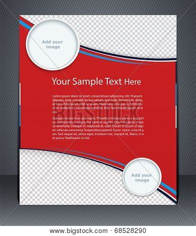Vector Layout Business Flyer, Magazine Cover, Or Corporate Design Template Advertisment, Red Color.