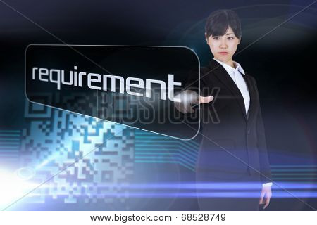 Businesswoman pointing to word requirement against shiny barcode on black background