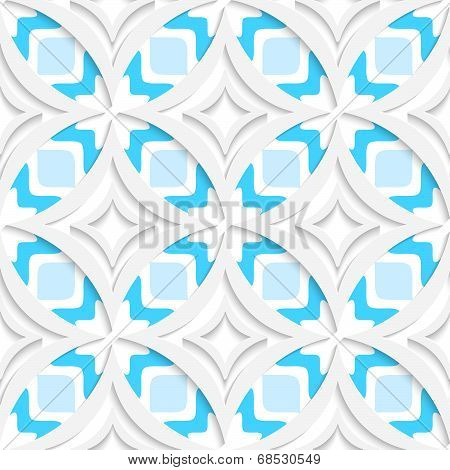 White Pointy Rhombuses With Blue Flat Seamless