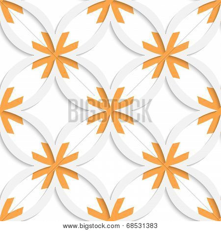 White Vertical Pointy Squares With Orange Layering Seamless