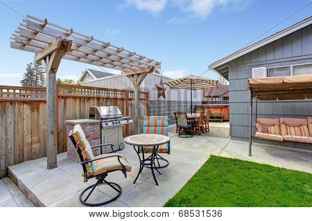 House Backyard With Patio Area