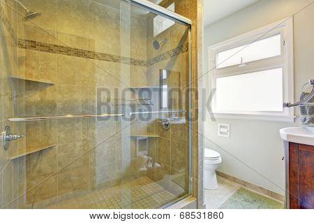 Modern Bathroom With Glass Door Shower