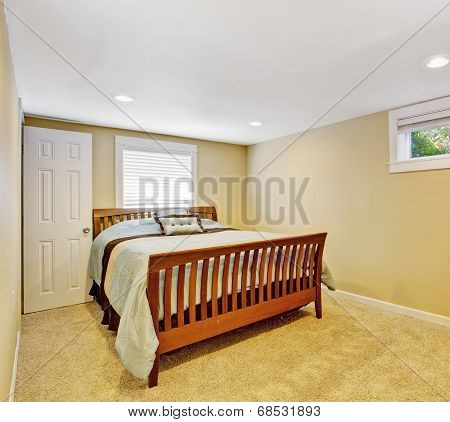 Cozy Bedroom Interior In Soft Ivory Color