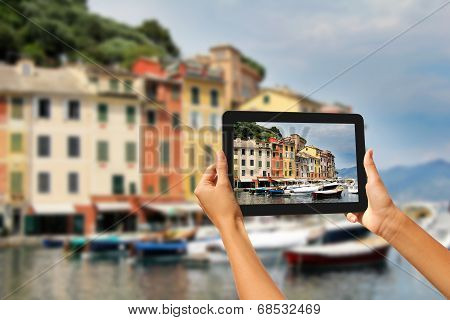 Portofino Woman Taking Pictures On A Tablet