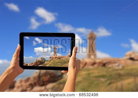 Woman Taking Pictures On A Tablet Lighthouse