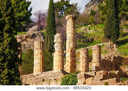 Six ruined columns in Delphi