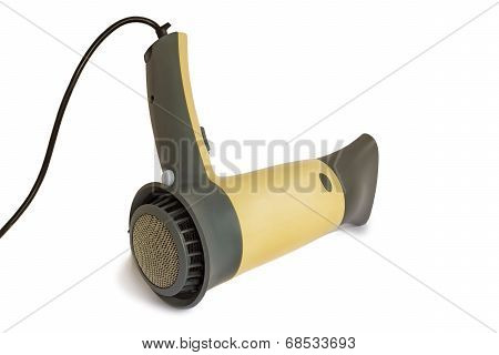 The Hair Dryer For Drying Of Hair On A White Background.