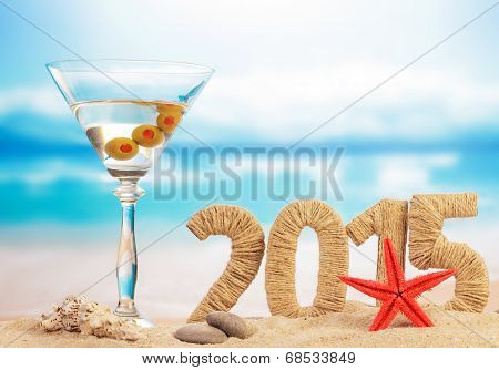 Cocktail on sandy beach