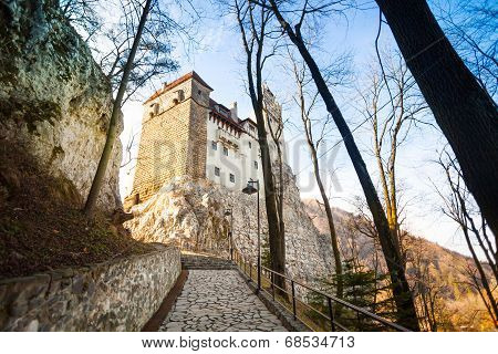 Close view of Dracula Castle with stoned path