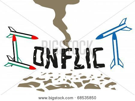 Israel And Palestine conflict illustration