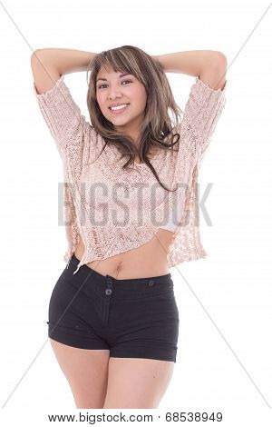 beatiful latin girl posing isolated on white