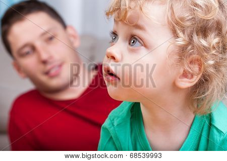 Portrait Of Little Child With Dad