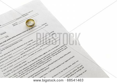 Divorce Form With Single Wedding Ring
