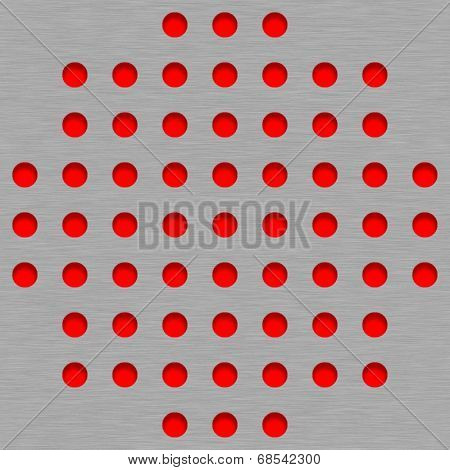 Brushed Metal Tile Background With Red Grill Holes
