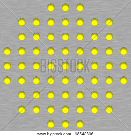 Brushed Metal Tile Background With Yellow Grill Holes