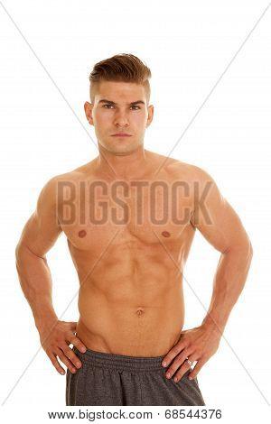 Man No Shirt Stand Hands Hips Looks Serious