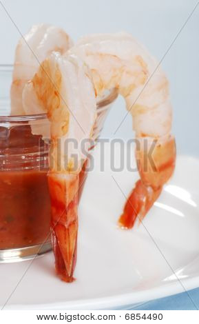 Closeup Jumbo Fresh Shrimp And Seafood Sauce