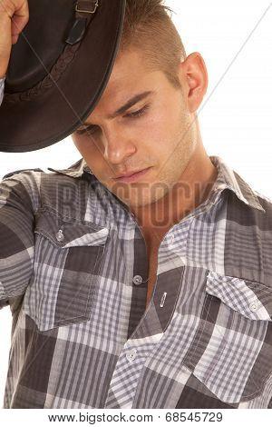Man Plaid Shirt Putting On Hat Close