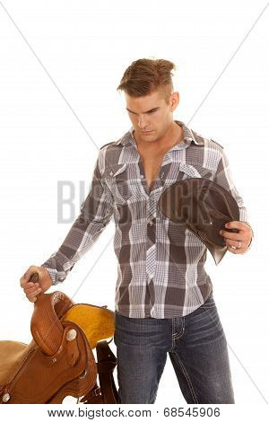 Man Plaid Shirt Saddle Hat Look Down