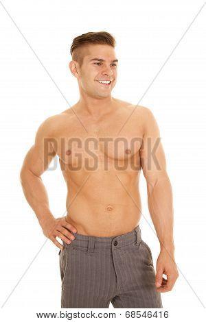 Man Slacks No Shirt Look Side