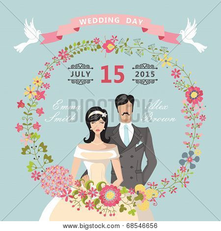 Cute Wedding Invitation.floral Wreath,cartoon Bride,groom