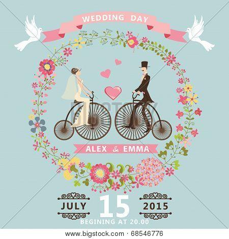 Floral Wedding Invitation.bride , Groom On Retro Bike