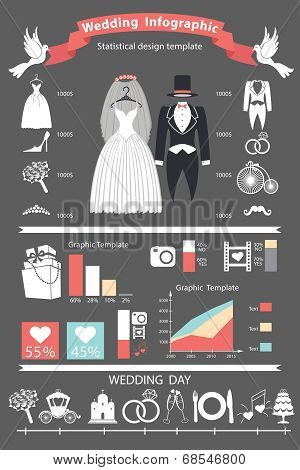 Wedding Infographics Set. Retro Wedding Clothing