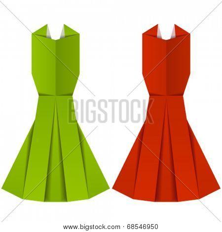 vector origami paper ladies evening garments