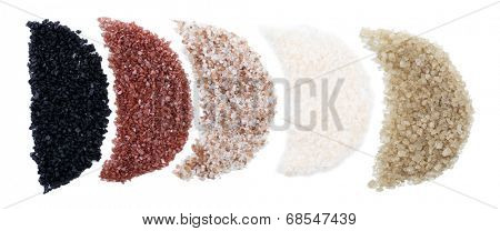 Variety of different foods sea salt, isolated on white
