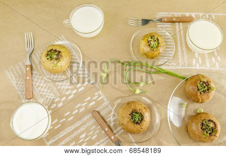 Small Scones With Buckwheat And Onions.