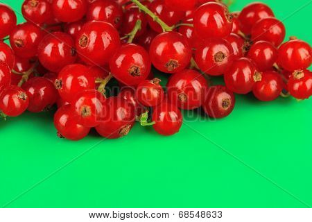 Redcurrants on green background
