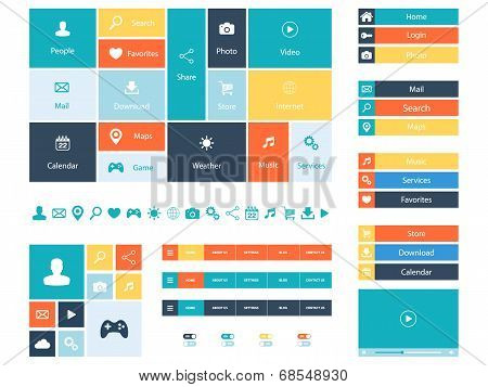 Flat Web Design elements, buttons, icons. Color templates for website.
