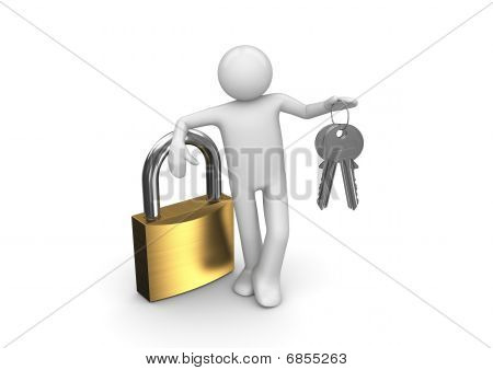 Lock, Man And Two Keys