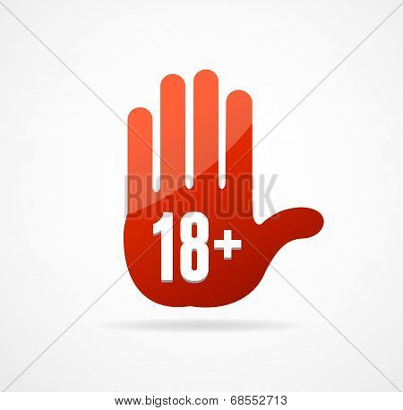 Vector Round Icon of 18 sign like hand