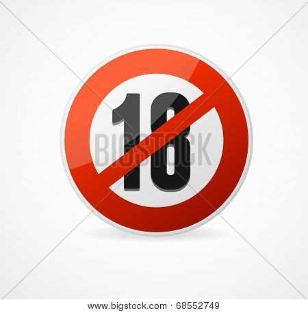 Vector Round Icon of 18 sign