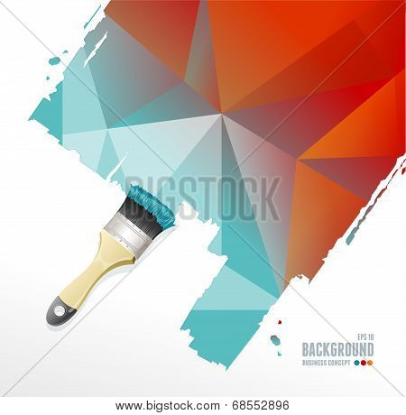 Vector roller brush and triangle background